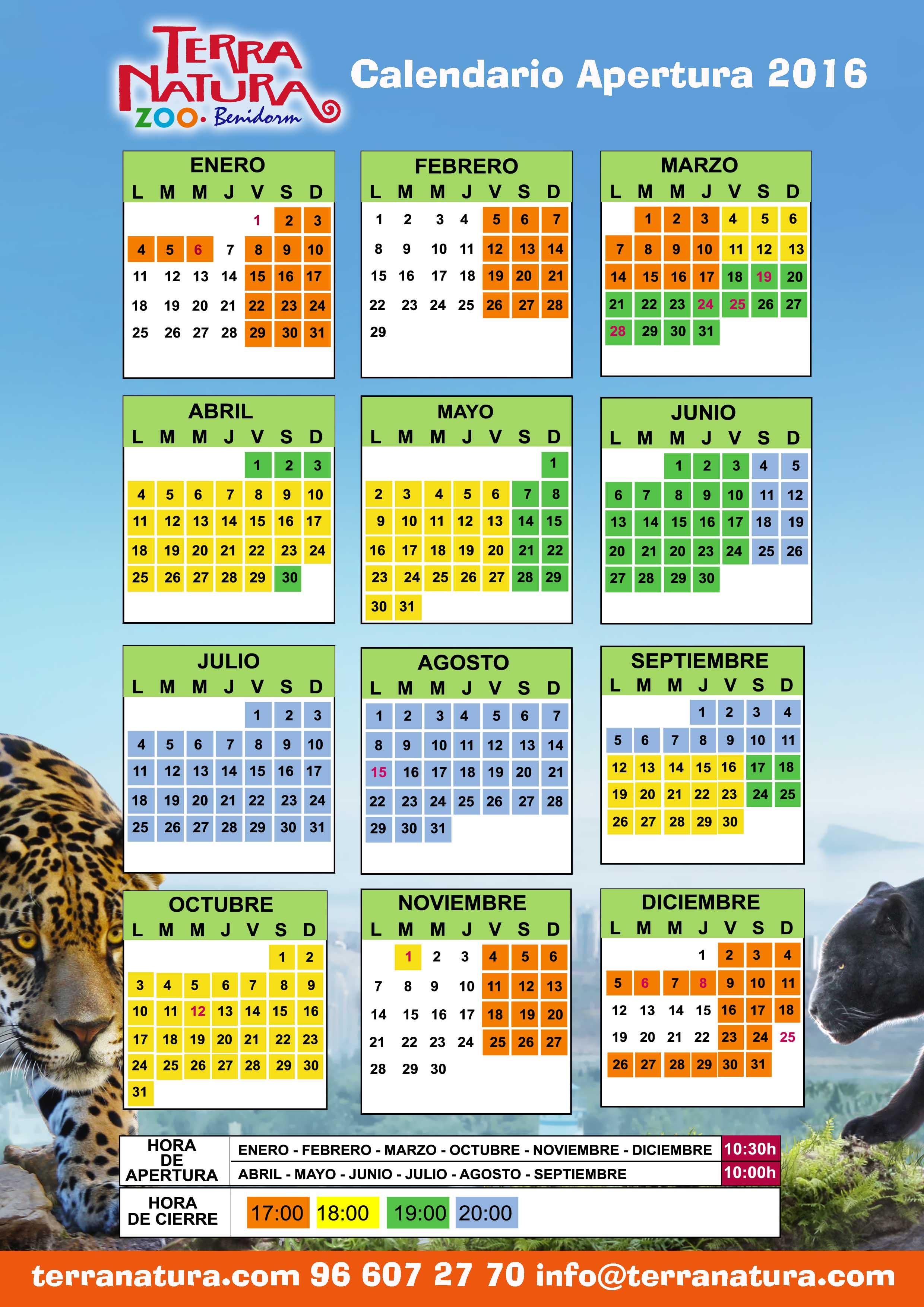 Consulta en el calendario de Terra Natura Benidorm el horario de ...