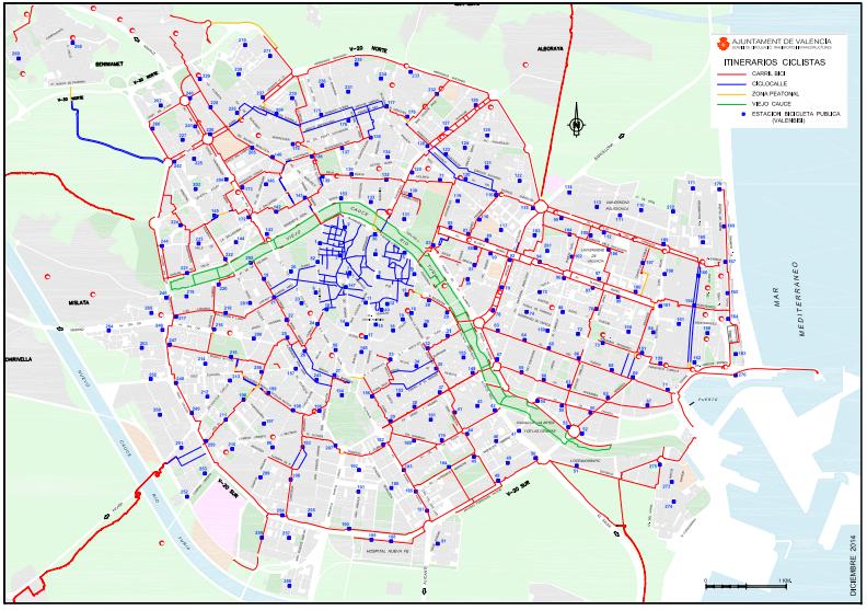 Recorrido recomendado en bici por el centro de Valencia