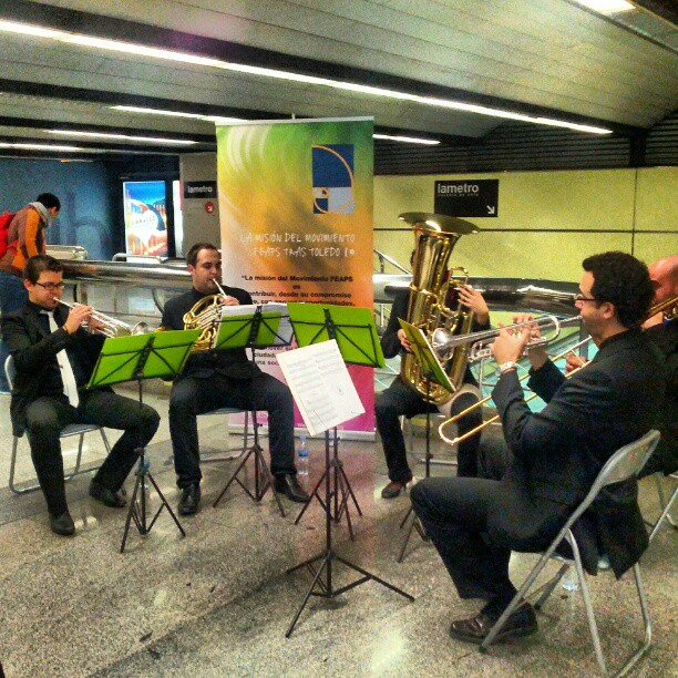 Stepped of the metro to hear these guys playing beautiful music in the station.