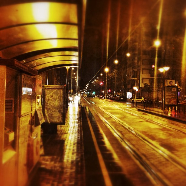 Waiting for the tram... #valencia #lovevalencia #rain #night