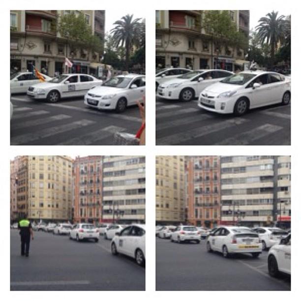 Manifestación de los taxistas en Valencia, en plena plaza España! #lovevalencia