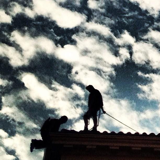 Trabajando en las alturas.