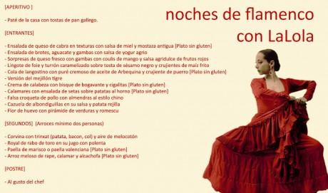 LaLola valencia menu flamenco