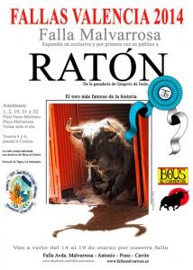 El toro Ratón desde el 14 al 19 de marzo en la Falla Malvarrosa