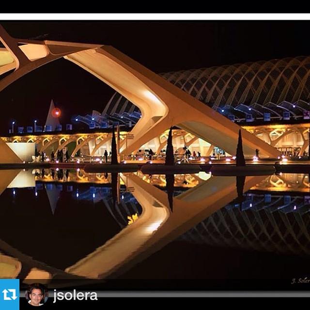 "#Repost @jsolera with @repostapp.?????""Reflejo nocturno"" #Valencia #loveValencia #instapic #instagramers #CityofArts&Sciences #reflection @ontdekvalencia"