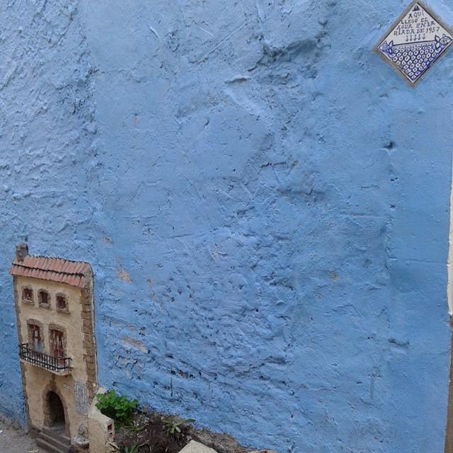 La fachada azul: cosas interesantes. A la derecha marca de hasta donde llegó la riada en el 57. A la derecha la gatera más bonita que he visto nunca... es lo ke hay!! #descubriendomiciudad con @artgask #lovevalencia #valenciamola