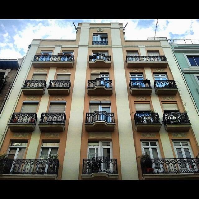 Building #facade with pretty wrought #iron balconies.  #Fachada de un #edificio con bonitos balcones de #hierro forjado. #barrioderuzafa #russafa #igersvalencia #spain #thisisvalencia #lovevalencia