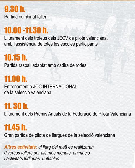 horario dia pilota valenciana 2015