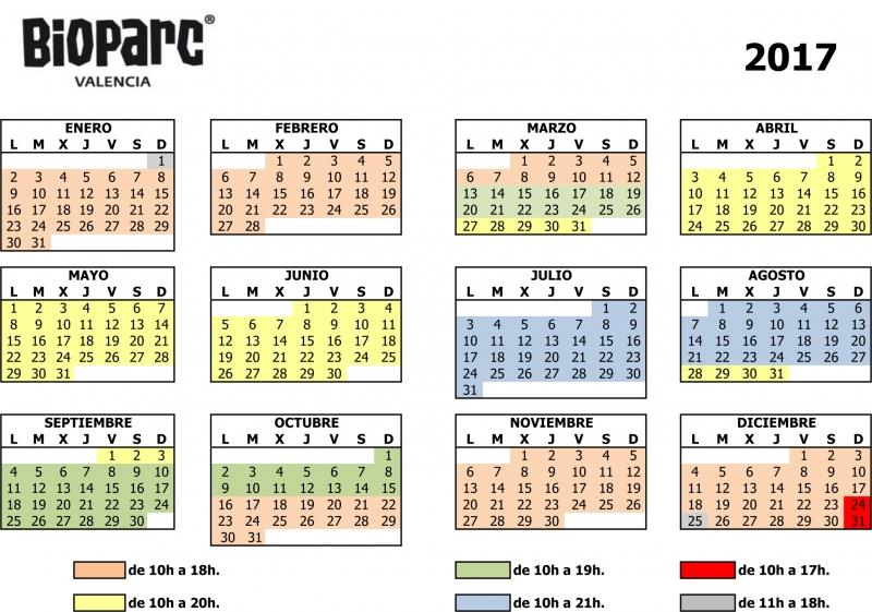 Valencia Calendar.Bioparc Opening Times Love Valencia