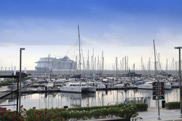 Porto di Valencia, Valencia porto, Valencia porto, Valencia da nave, Italia Valencia con nave,