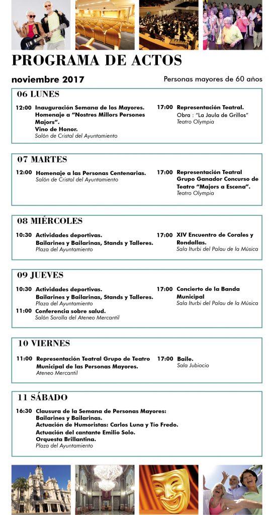 Programa de actividades Semana de los Mayores en valencia 2017