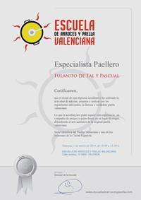 Diploma corso di paella valenciana