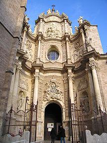 puerta de lo hierros, porta barocca della cattedrale in plaza de la reina, valencia