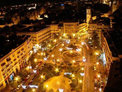 plaza de la reina veduta notturna, valencia