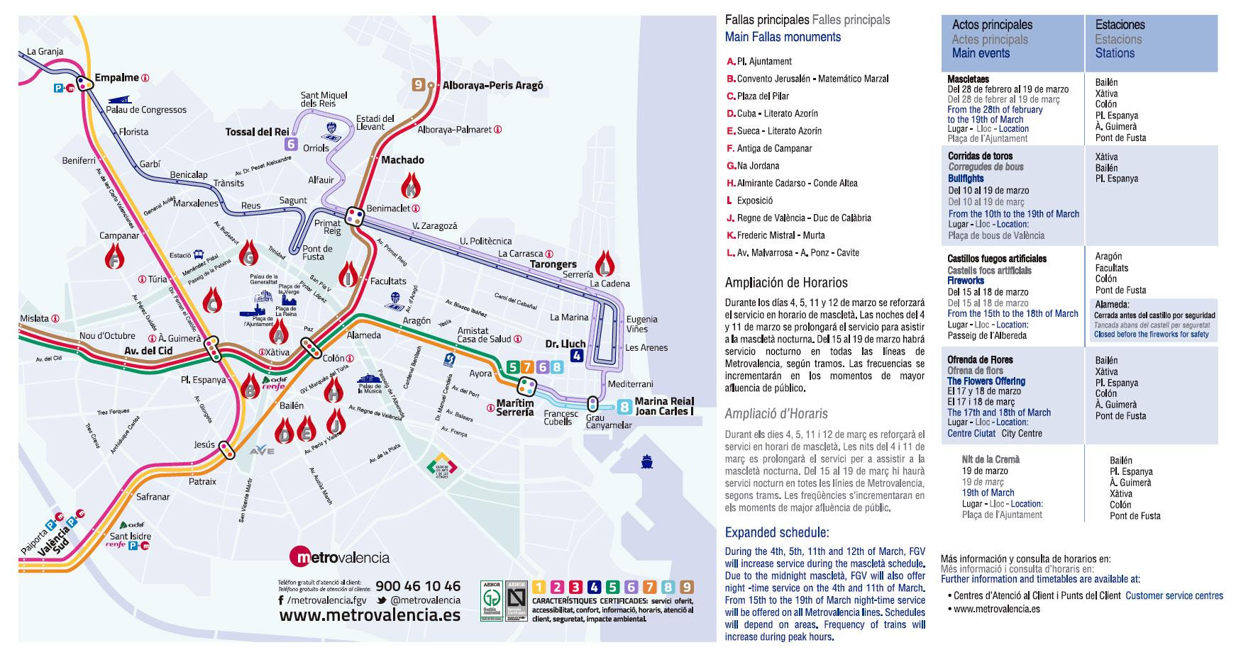 trasporti valencia metro bus fallas