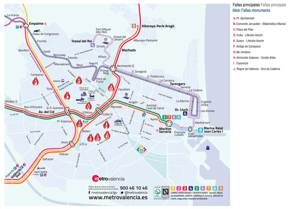Mapa Fallas Valencia 2019.Metrovalencia En Fallas Love Valencia