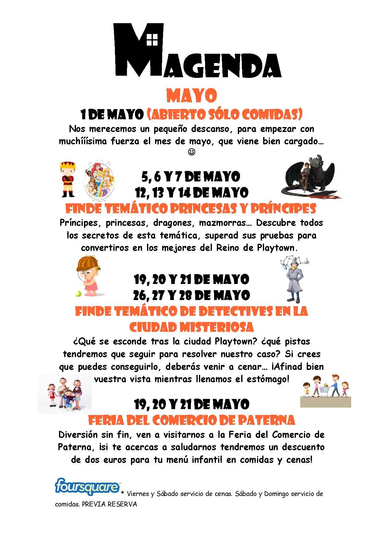 Agenda de mayo en Playtown Somnis