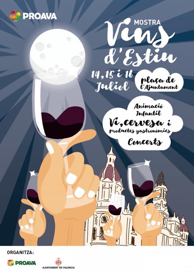 Cartel Mostra de vinos en verano en Valencia 2017