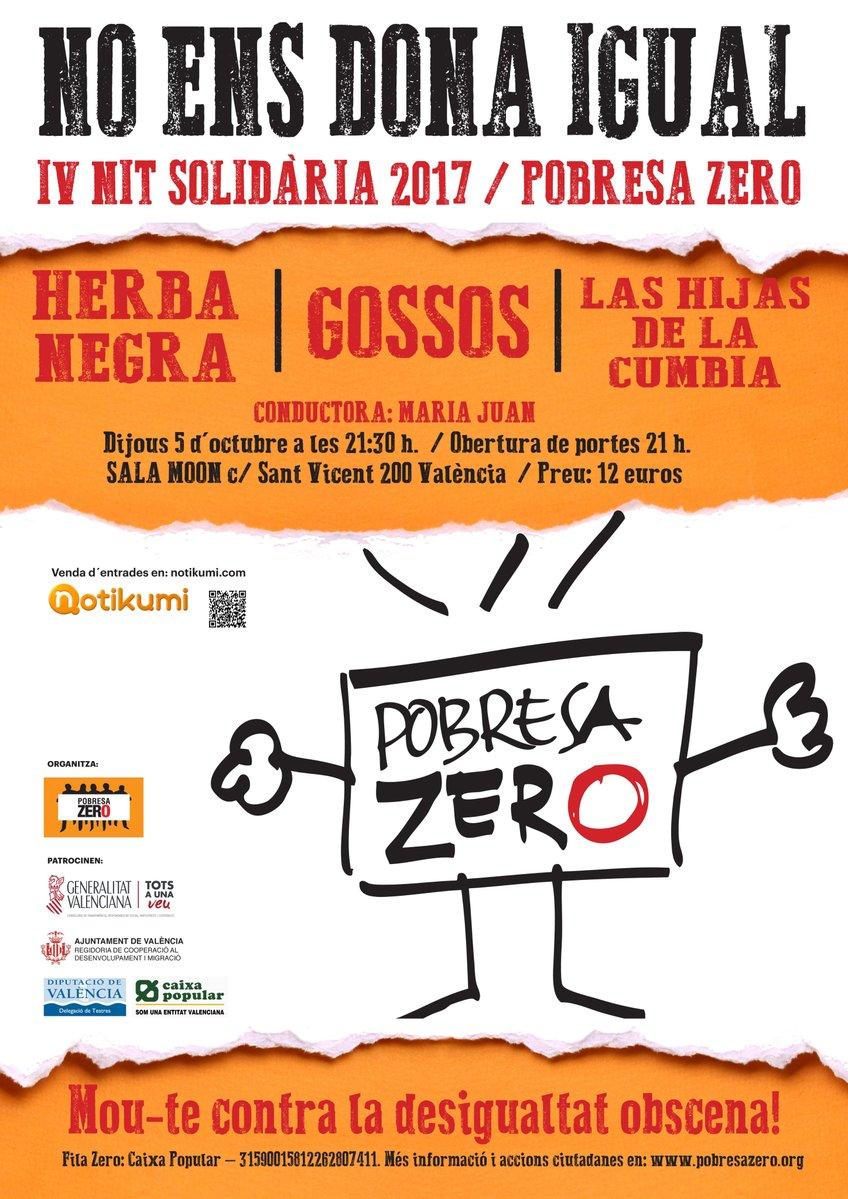 Cartel Noche solidaria pobresa zero
