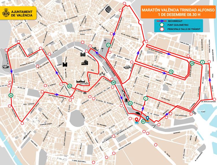 calles cortadas al trafico maraton valencia 2019