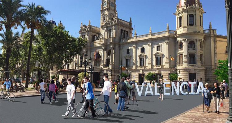 peatonalizacion de la plaza del ayuntamiento de valencia